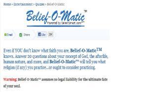 Belief-o-matic disclaimer (screen shot)
