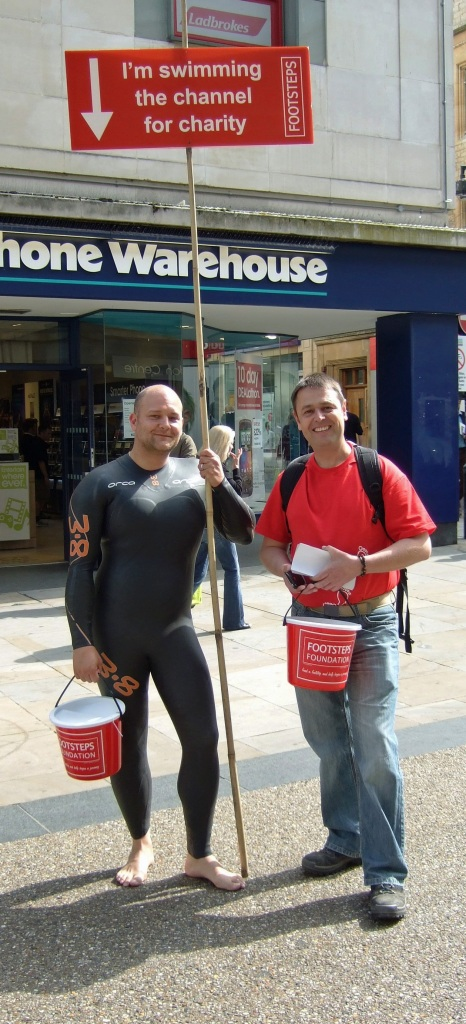 Footsteps Foundation - James Howard in wetsuit to promote Channel swim