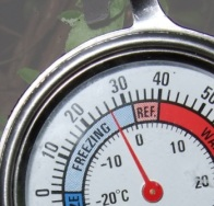 Fridge thermometer showing outside temperature