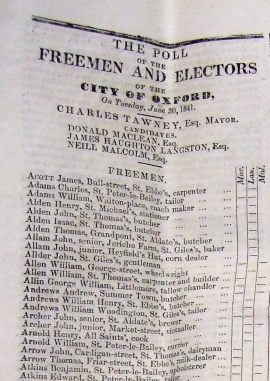 Election results for Oxford City Council 1841