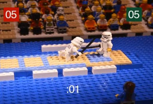 Lego characters fencing