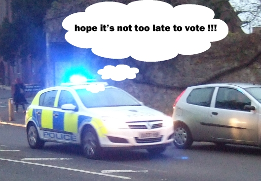 Police car with blue light - thought bubble
