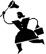 woman chasing something with a butterfly net