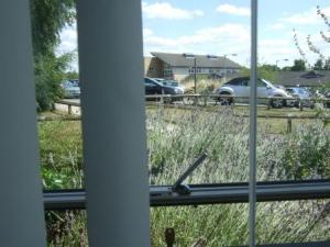 View across hospital car park