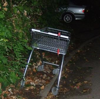 Shopping trolley by roadside