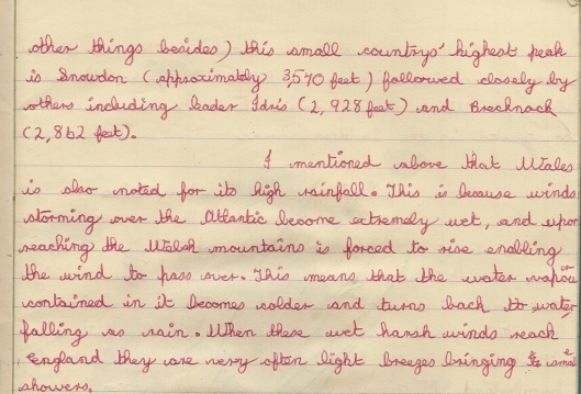 Handwriting example - geography age 11